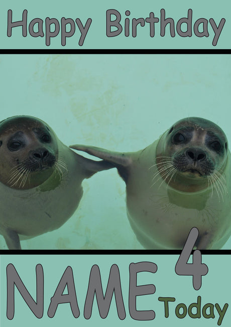Two Seals Funny Kids Adult Personalised Birthday Card Gift Present