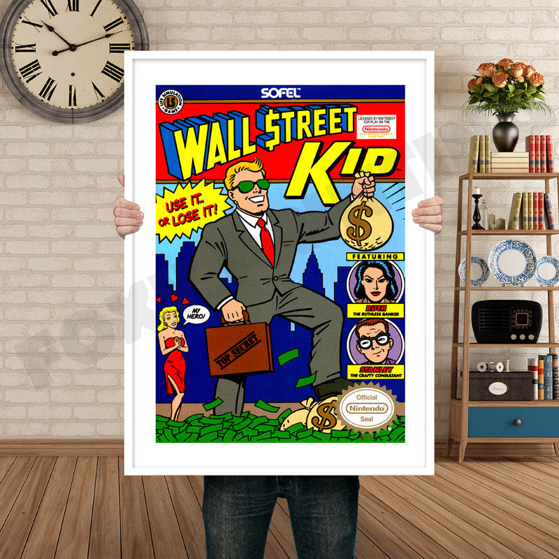 Wall Street Kid Retro Game Inspired Theme Nintendo Nes Gaming A4 A3