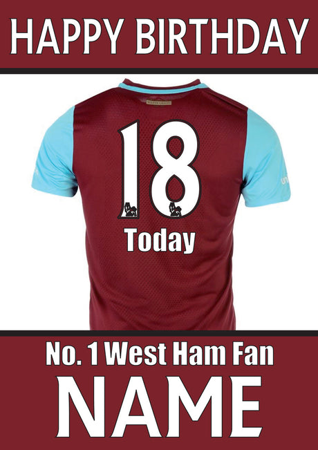 West Ham Fan FOOTBALL TEAM THEME INSPIRED PERSONALISED Kids Adult Birthday Card