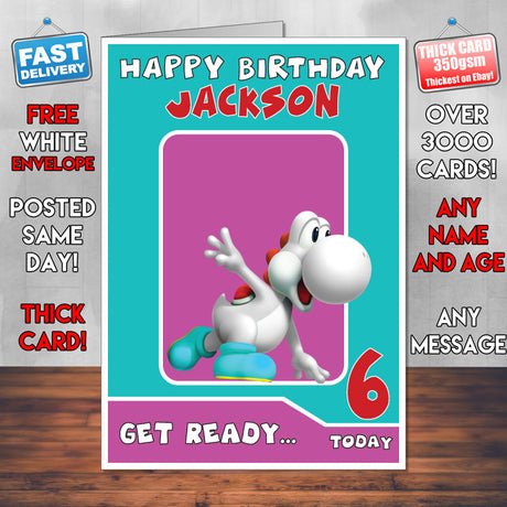 Gaming cards foxy printing personalised prints birthday cards white yoshi super mario inspired theme personalised kids inspired birthday card sa060917 bookmarktalkfo Image collections
