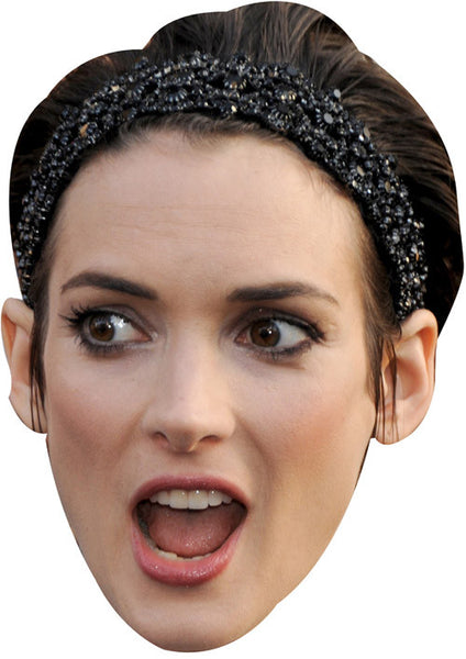 Card Face and Fancy Dress Mask Winona Ryder Celebrity Mask