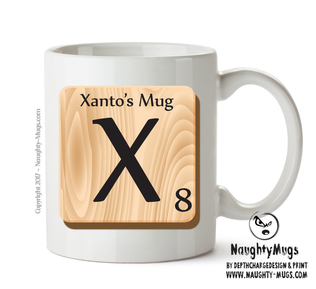 "Initial ""X"" Your Name Scrabble Mug FUNNY Gift Office Mug Funny Humour"