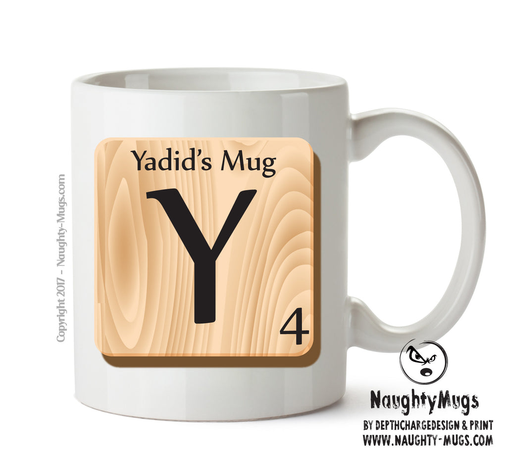 "Initial ""Y"" Your Name Scrabble Mug FUNNY Gift Office Mug Funny Humour"