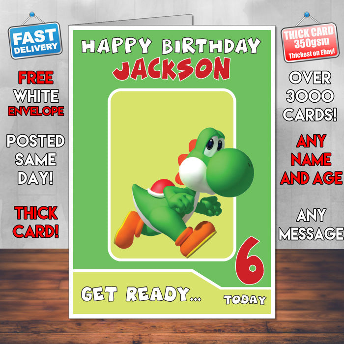 Yoshi super mario inspired theme personalised kids inspired personalised birthday card bookmarktalkfo Image collections