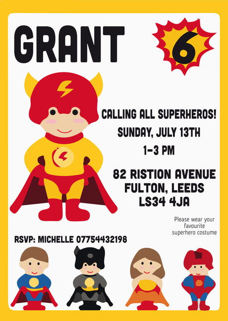 10 X Personalised Printed You're A Superhero INSPIRED STYLE Invites