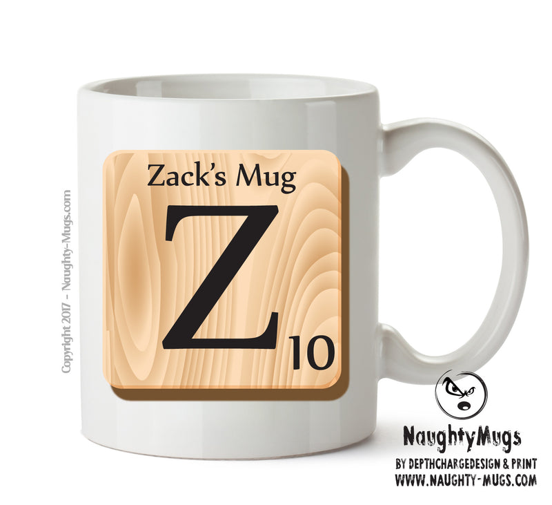 "Initial ""Z"" Your Name Scrabble Mug FUNNY Gift Office Mug Funny Humour"
