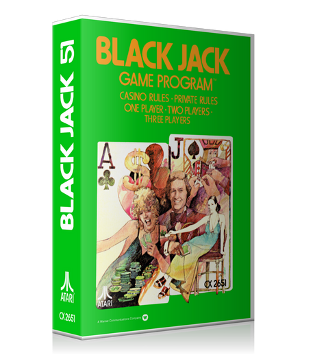 Black Jack Atari 2600 Game Cover To Fit A UGC Style Replacement Game Case