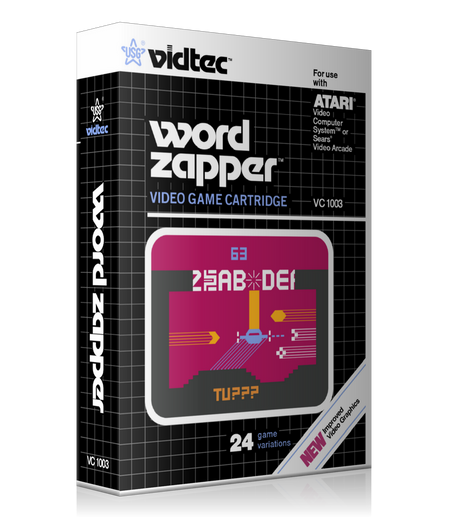 Word Zapper Atari 2600 Game Cover To Fit A UGC Style Replacement Game Case