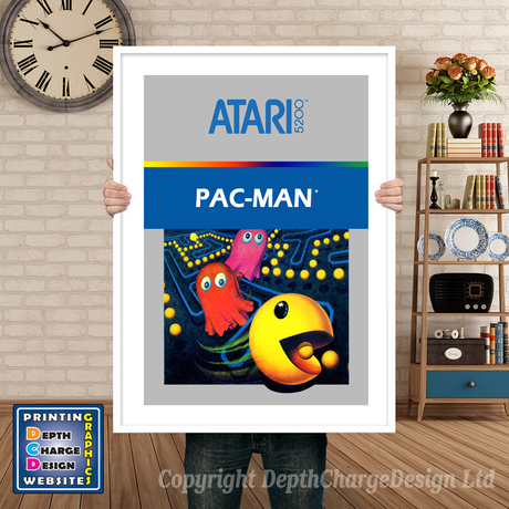 Pacman Atari 5200 GAME INSPIRED THEME Retro Gaming Poster A4 A3 A2 Or A1