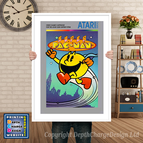 Super Pacman Atari 5200 GAME INSPIRED THEME Retro Gaming Poster A4 A3 A2 Or A1