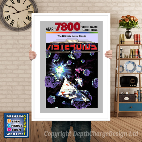 Asteroids - Atari 7800 Inspired Retro Gaming Poster A4 A3 A2 Or A1