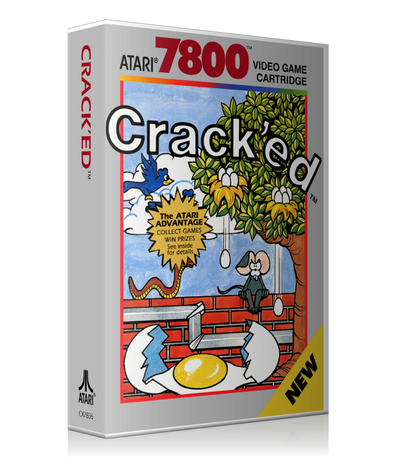 Atari 7800 Cracked Game Cover To Fit A UGC Style Replacement Game Case
