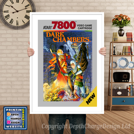 Dark Chambers - Atari 7800 Inspired Retro Gaming Poster A4 A3 A2 Or A1
