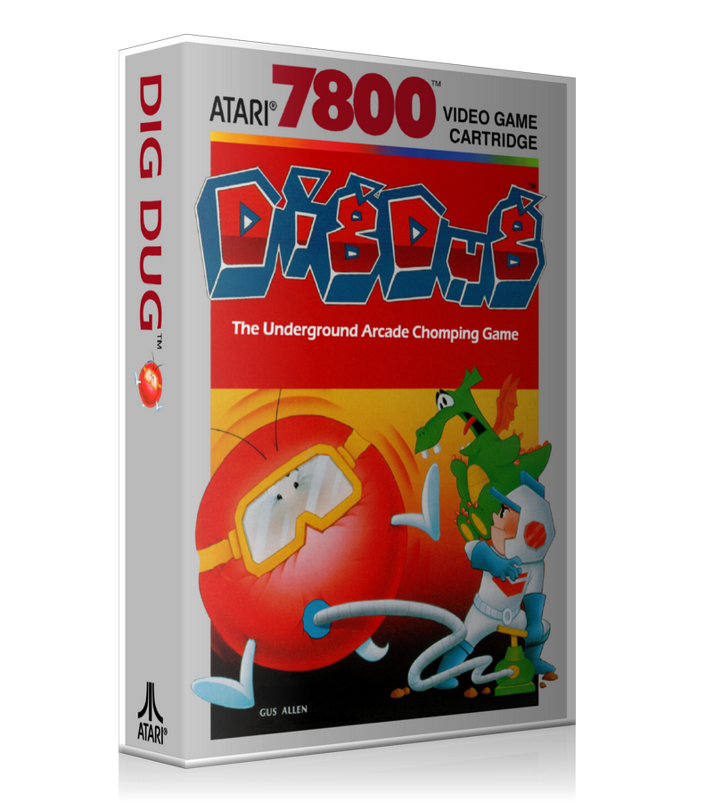 Atari 7800 Dig Dug Game Cover To Fit A UGC Style Replacement Game Case