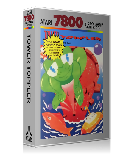 Atari 7800 Tower Toppler Game Cover To Fit A UGC Style Replacement Game Case