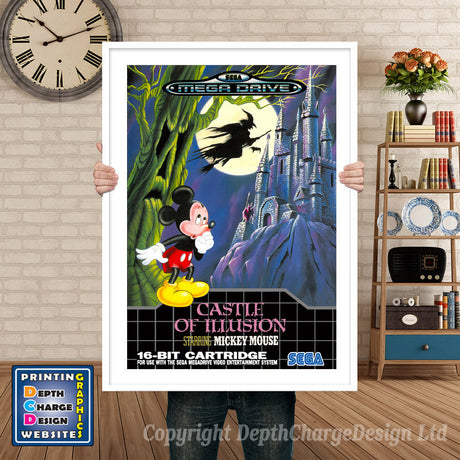 Castle Of Illusion Eu - Sega Megadrive Inspired Retro Gaming Poster A4 A3 A2 Or A1