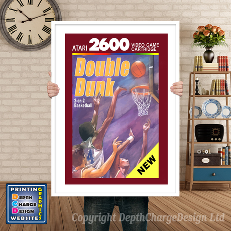 Double Dunk None - Atari 2600 Inspired Retro Gaming Poster A4 A3 A2 Or A1
