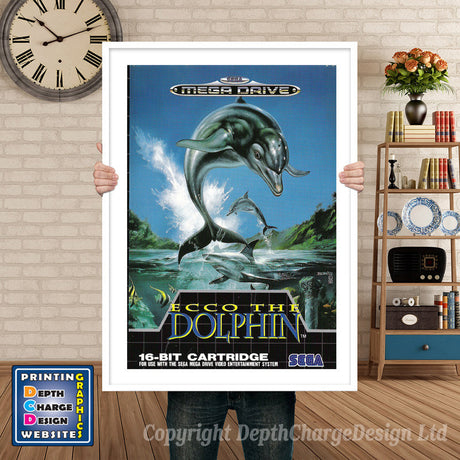 Ecco The Dolphin Eu - Sega Megadrive Inspired Retro Gaming Poster A4 A3 A2 Or A1