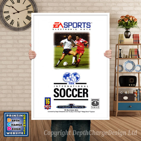 Fifa International Soccer Au - Sega Megadrive Inspired Retro Gaming Poster A4 A3 A2 Or A1