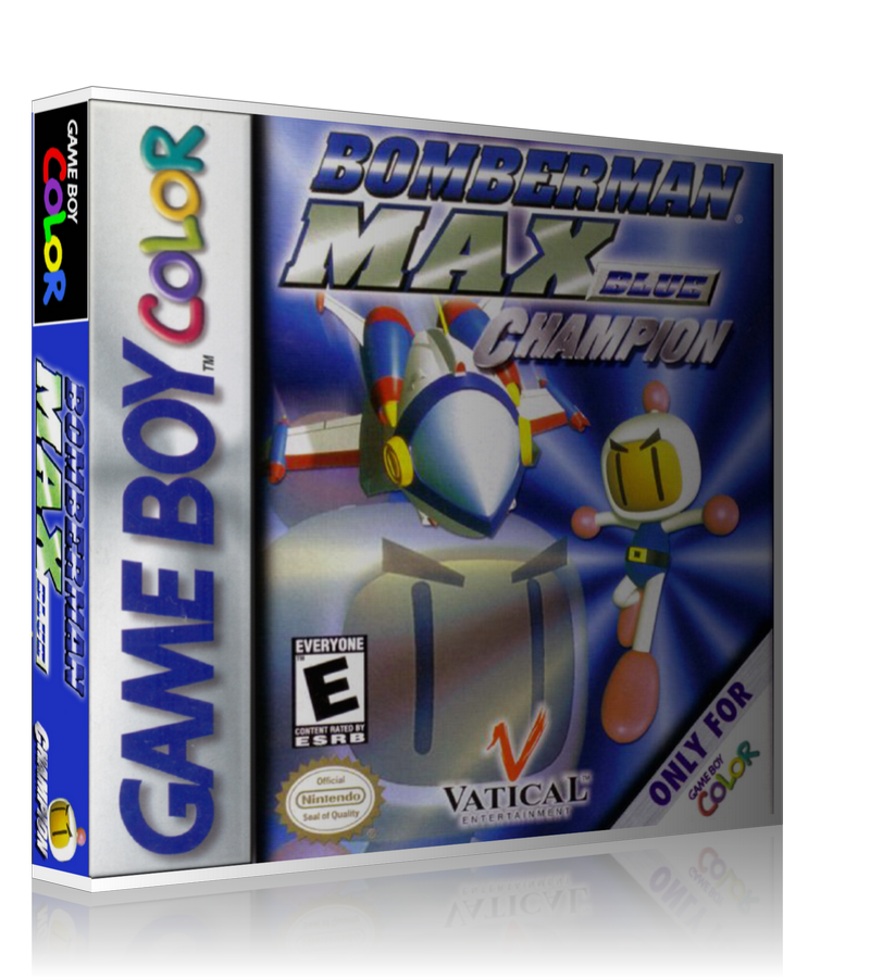 Gameboy Color Bomberman Max Blue Champion Game Cover To Fit A UGC Style Replacement Game Case