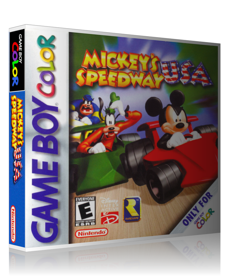 Gameboy Color Mickeys USA Speedway Game Cover To Fit A UGC Style Replacement Game Case