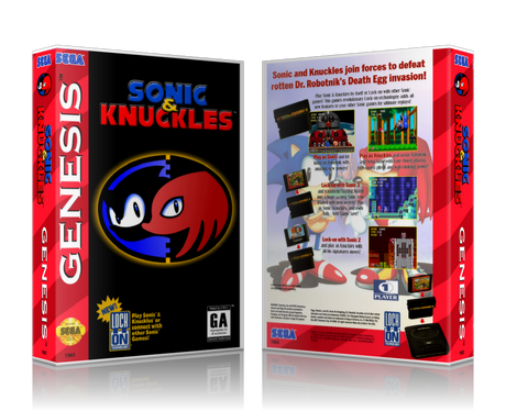 SEGA Genesis Sonic And Knuckles Sega Megadrive REPLACEMENT GAME Case Or Cover