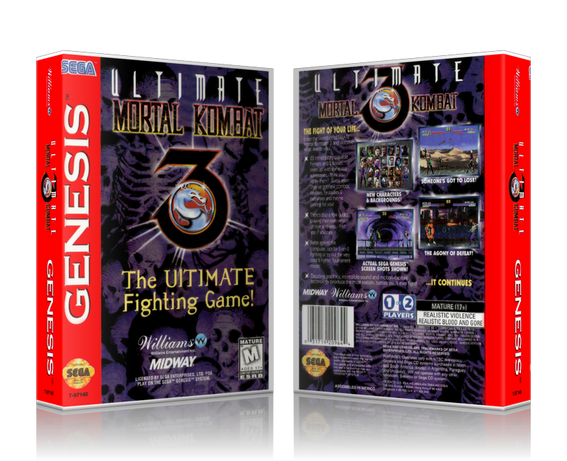 SEGA Genesis Ultimate Mortal Kombat 3 Sega Megadrive REPLACEMENT GAME Case  Or Cover