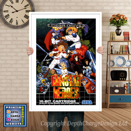 Gunstar Heroes_Eu - Sega Megadrive Inspired Retro Gaming Poster A4 A3 A2 Or A1