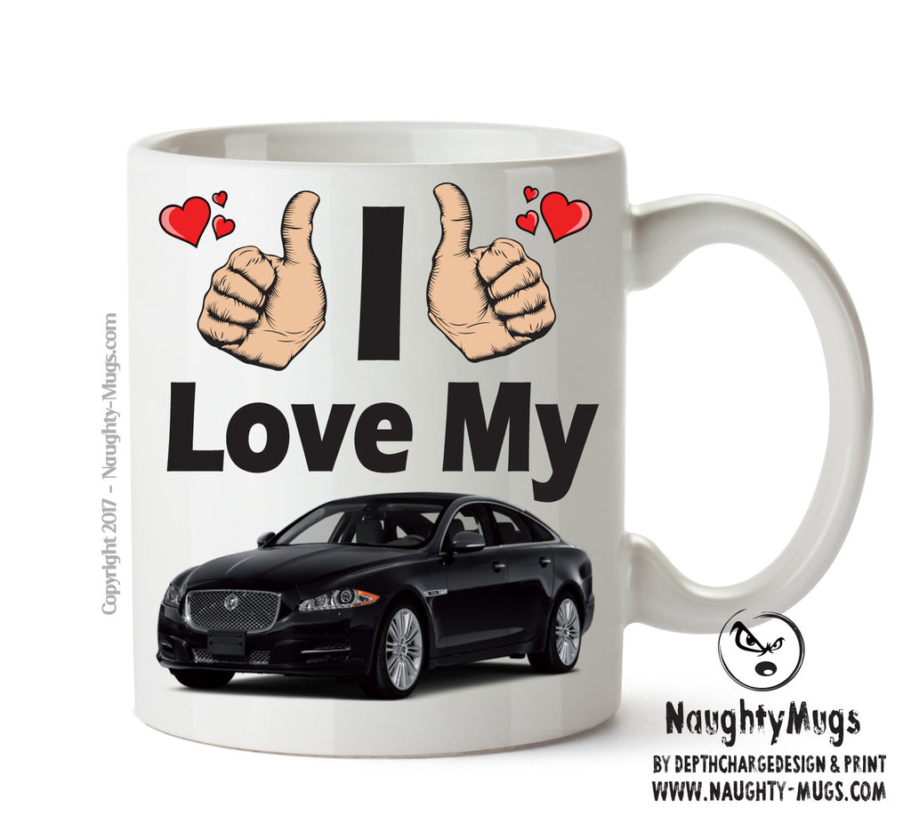 I Love My Jaguar XJ Black Printed Mug