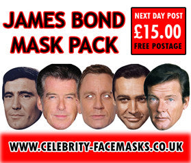 James Bond Mask Pack FANCY DRESS HEN BIRTHDAY PARTY FUN STAG DO HEN