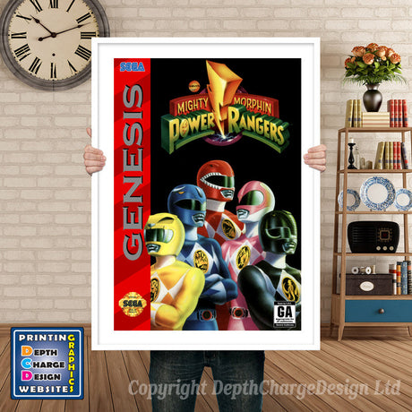 Mighty Morphin Power Rangers 2 - Sega Megadrive Inspired Retro Gaming Poster A4 A3 A2 Or A1