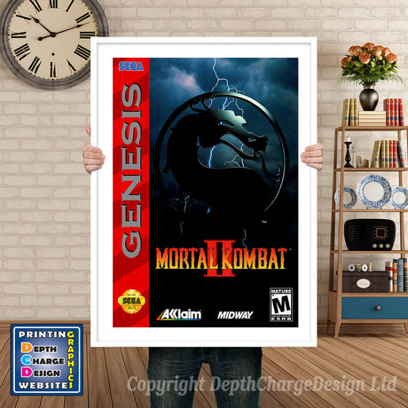 Mortal Kombat 2 - Sega Megadrive Inspired Retro Gaming Poster A4 A3 A2 Or A1