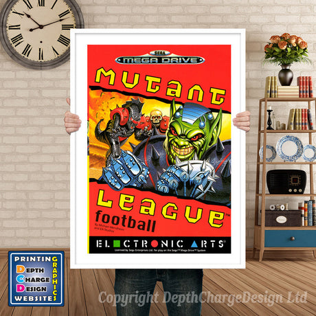 Mutant League Football Us - Sega Megadrive Inspired Retro Gaming Poster A4 A3 A2 Or A1