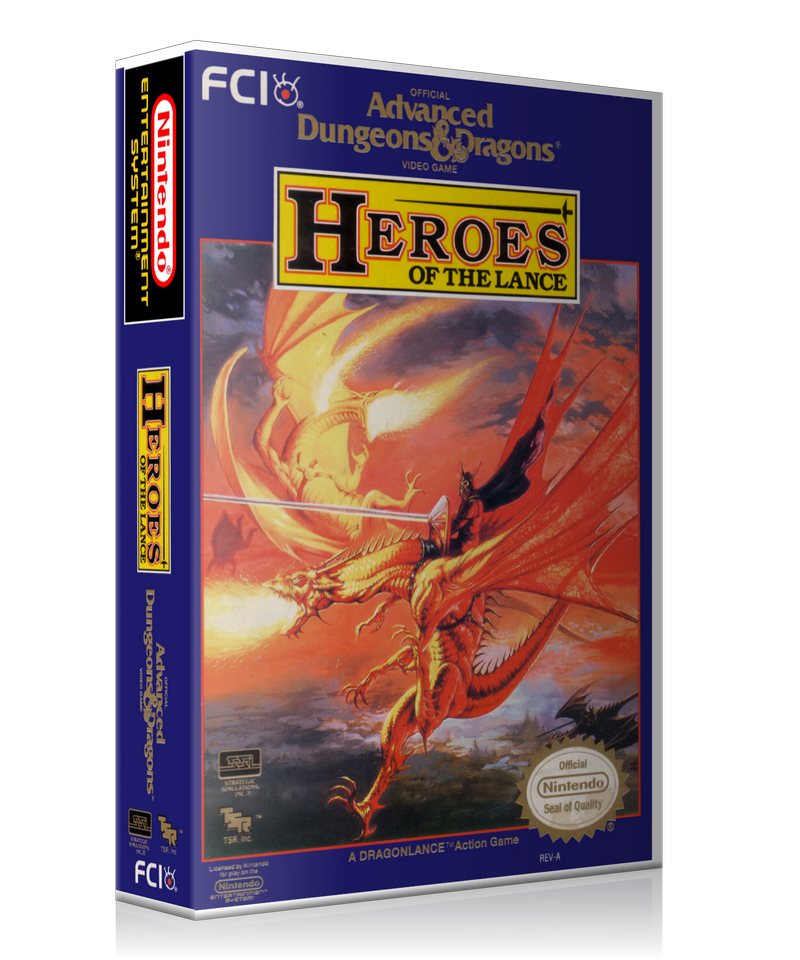 NES ADD Heroes Of The Lance Retail Game Cover To Fit A UGC Style Replacement Game Case