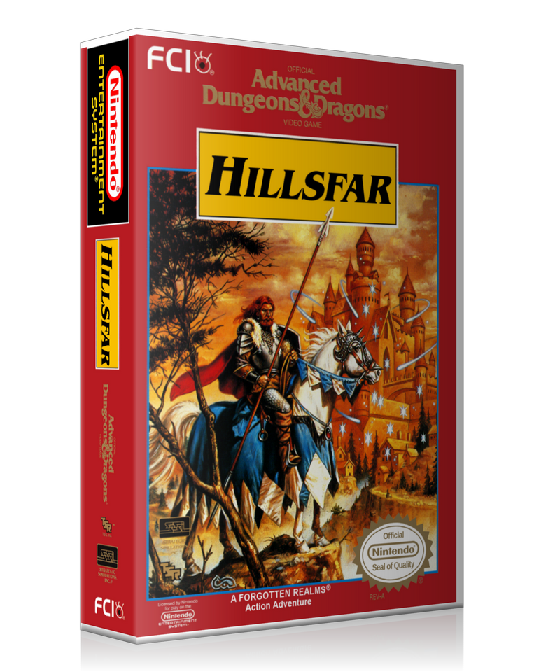 NES ADD Hillsfar Retail Game Cover To Fit A UGC Style Replacement Game Case