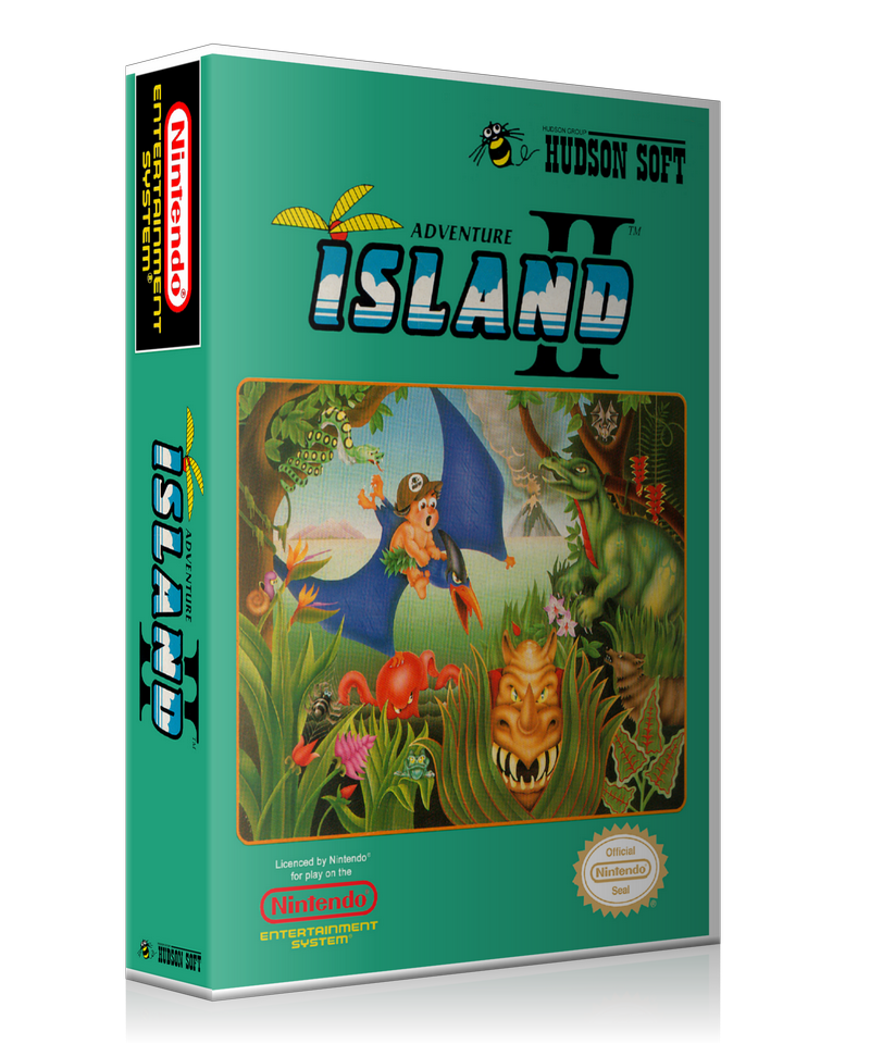 NES Adventure Island 2 Retail Game Cover To Fit A UGC Style Replacement Game Case