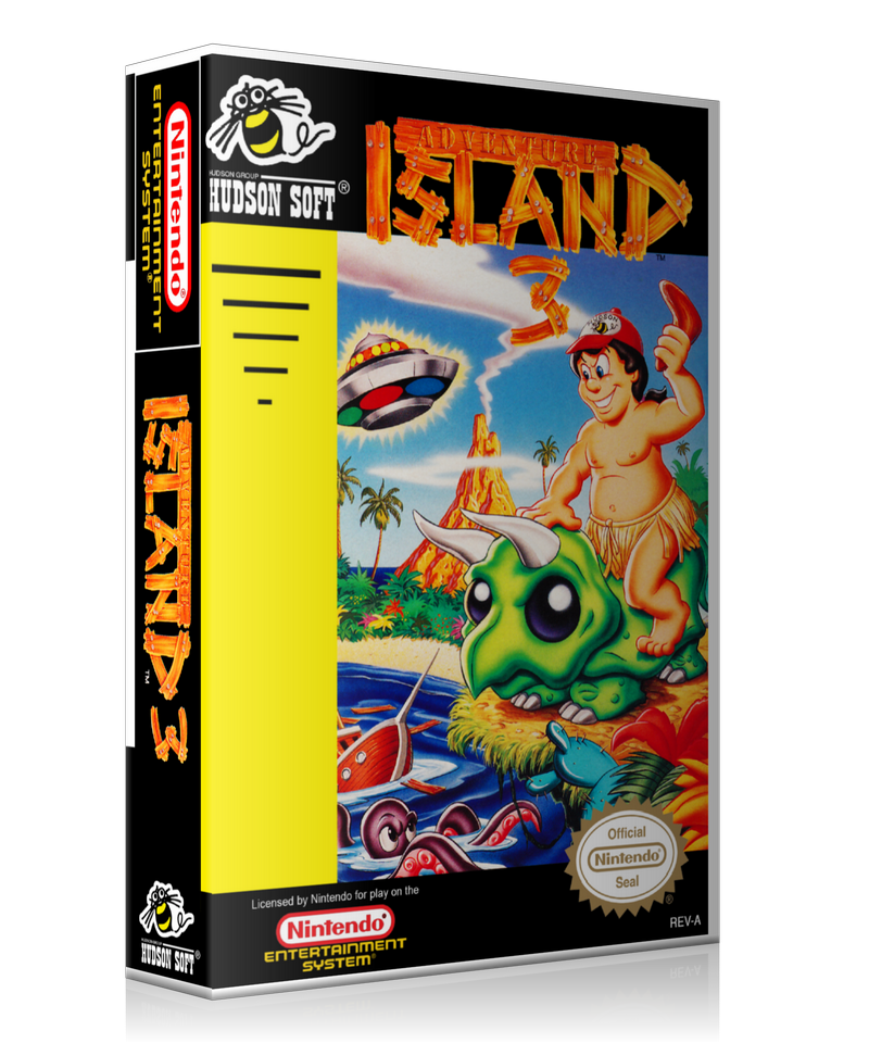 NES Adventure Island 3 Retail Game Cover To Fit A UGC Style Replacement Game Case