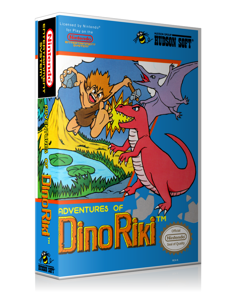 NES Adventures Of Dino Riki Retail Game Cover To Fit A UGC Style Replacement Game Case
