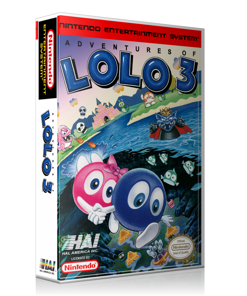 NES Adventures Of Lolo 3 Retail Game Cover To Fit A UGC Style Replacement Game Case