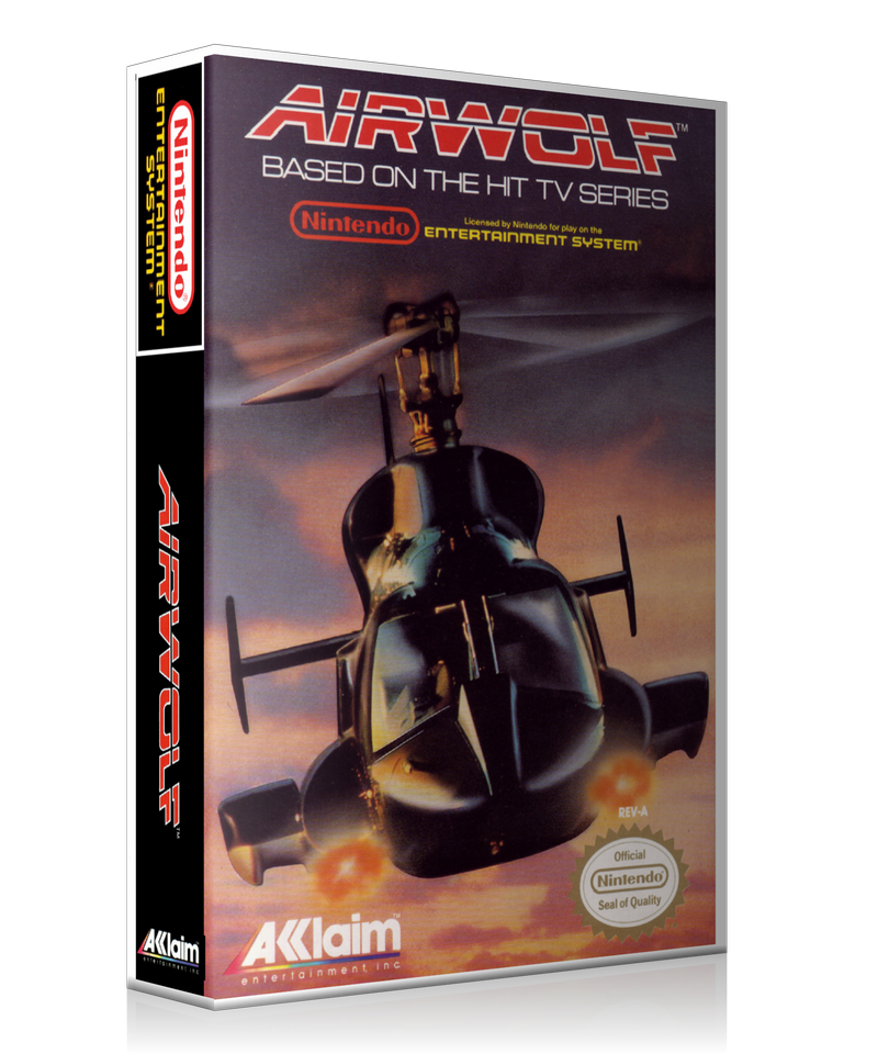 NES Airwolf Retail Game Cover To Fit A UGC Style Replacement Game Case