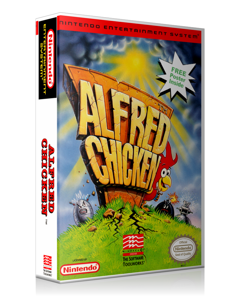 NES Alfred Chicken Retail Game Cover To Fit A UGC Style Replacement Game Case