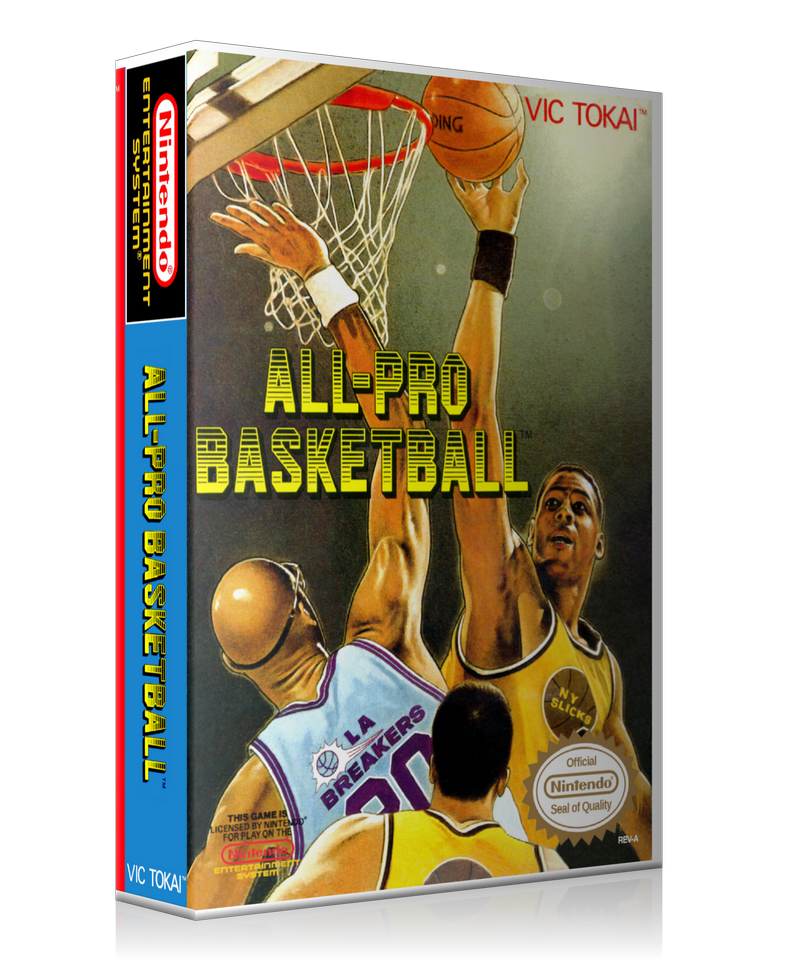 NES All Pro Basketball Retail Game Cover To Fit A UGC Style Replacement Game Case