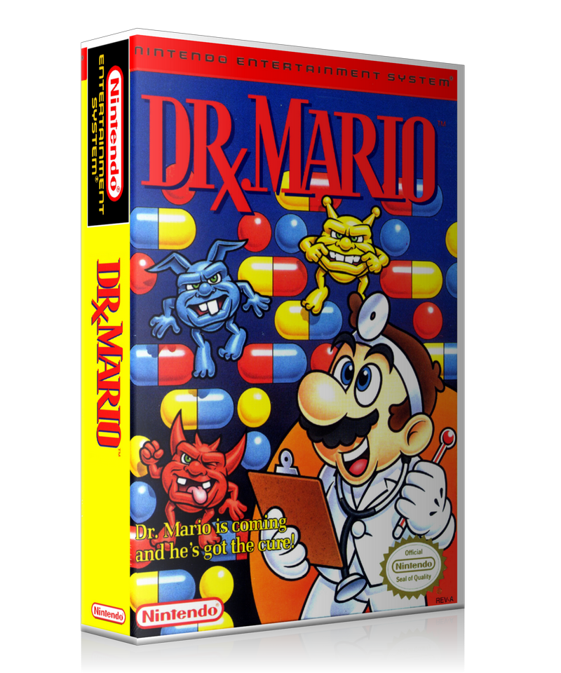 nes dr mario retail game cover to fit a ugc style replacement game