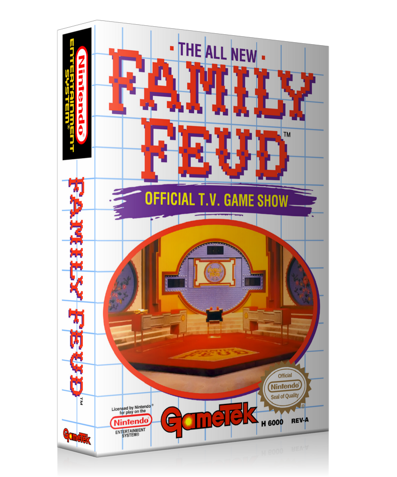 NES Family Feud Retail Game Cover To Fit A UGC Style Replacement Game Case