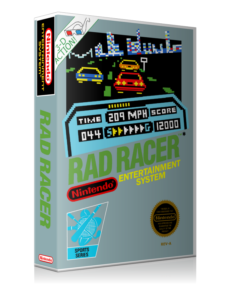 NES Rad Racer Retail Game Cover To Fit A UGC Style Replacement Game Case