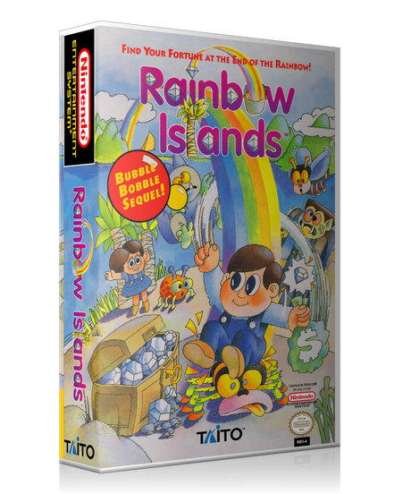 NES Rainbow Islands Retail Game Cover To Fit A UGC Style Replacement Game Case