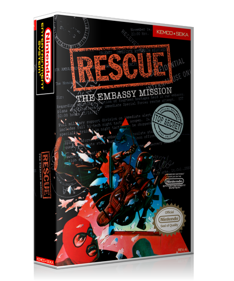 NES Rescue The Embassy Mission Retail Game Cover To Fit A UGC Style Replacement Game Case