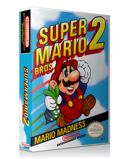 NES Super Mario Bros 2 Retail Game Cover To Fit A UGC Style Replacement Game Case