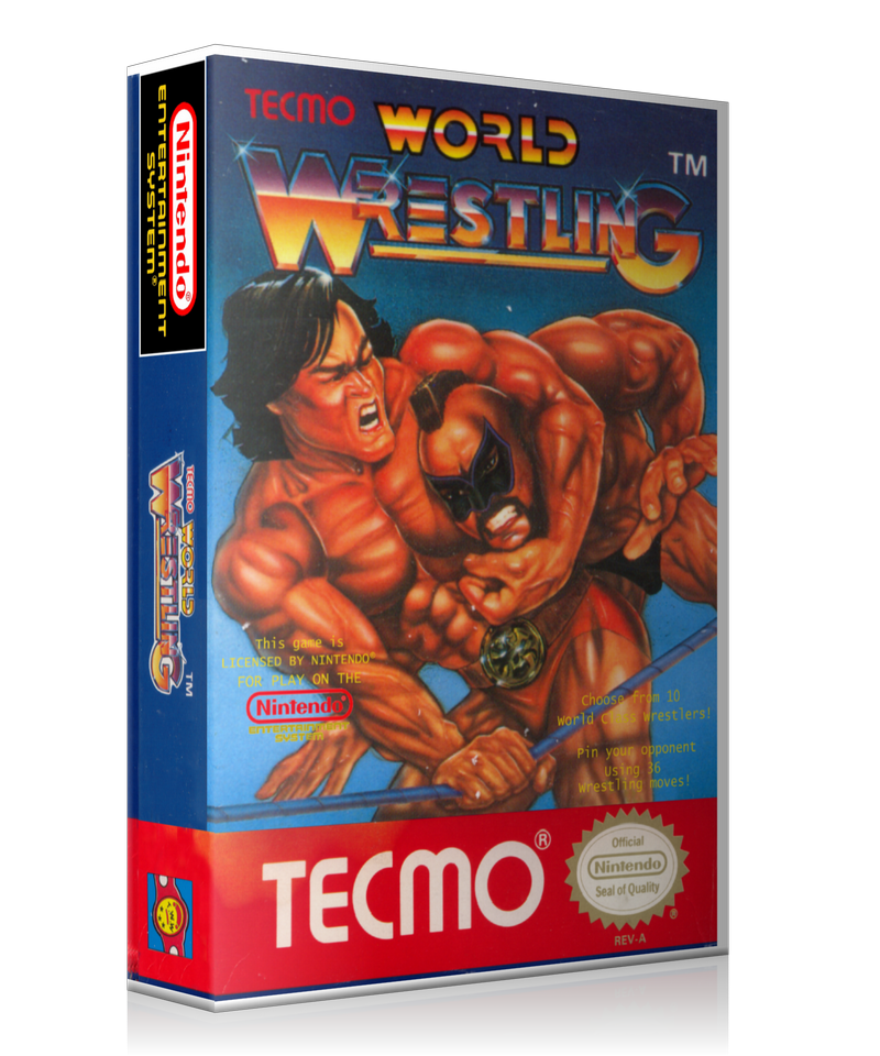 NES Tecmo World Wrestling Retail Game Cover To Fit A UGC Style Replacement Game Case