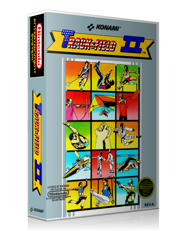 NES Track And Field 2 Retail Game Cover To Fit A UGC Style Replacement Game Case